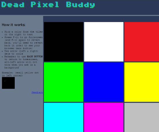 controllare i pixel bruciati su lcd