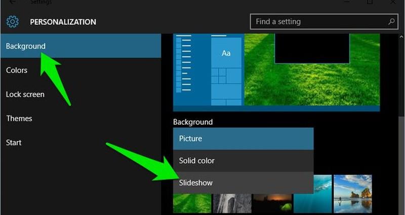 cambiare sfondo su windows 10