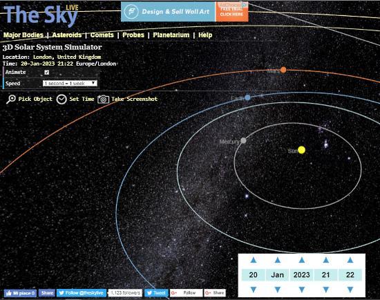simulatore sistema solare 3d