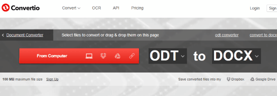 Convertire odt in docx
