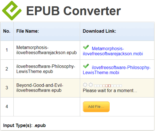 conversione file epub