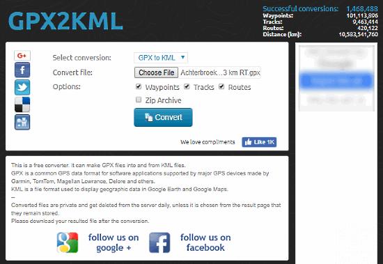convertire GPX in KML