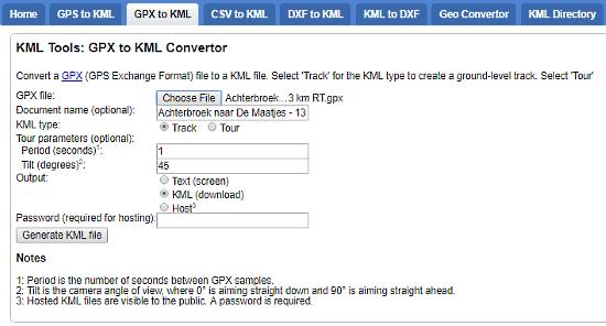 KML Tools per GPS file