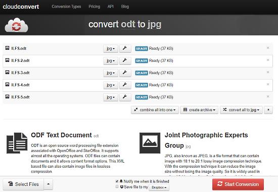 Convertire File ODT in JPG Online