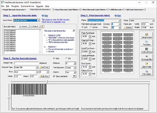 creare codici a barre con windows
