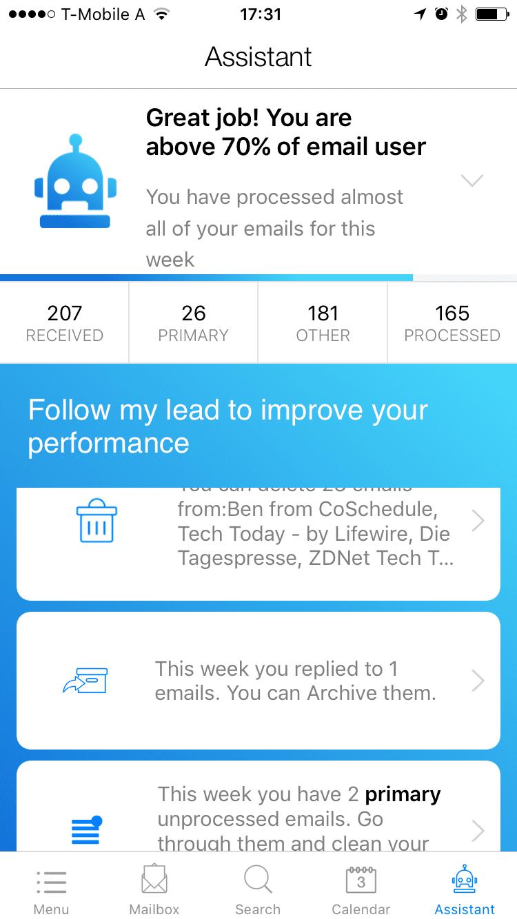 Zero app mail