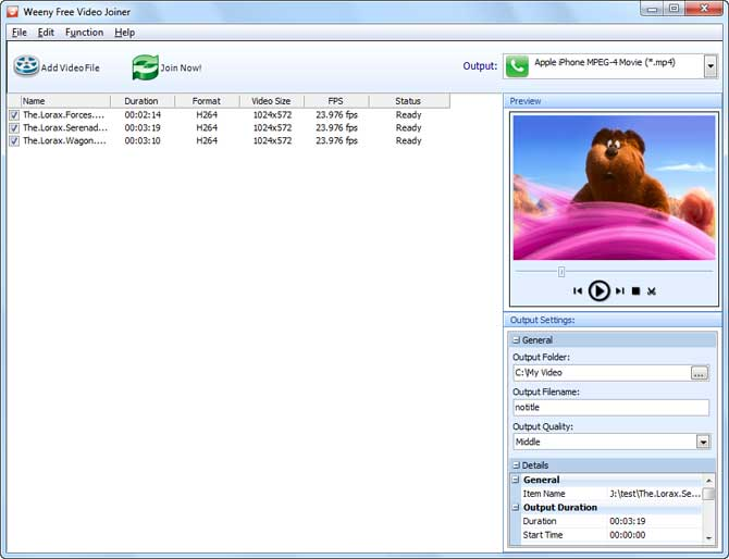 Tool Weeny Free Video Joiner per unire e editare file mp4