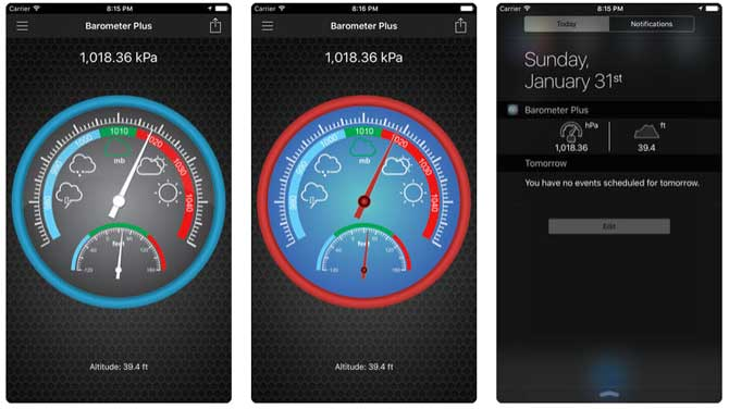 App Barometer plus altimeter plus