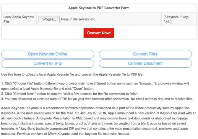 PDF convert online file keynote