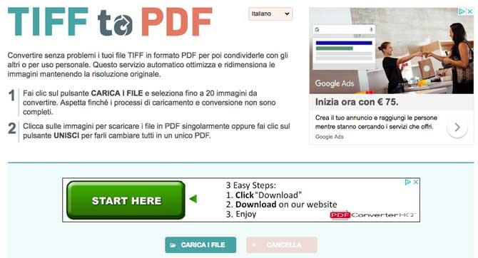convertire tiff in PDF