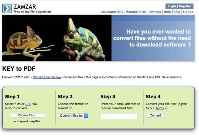 Zamzar Key to PDF