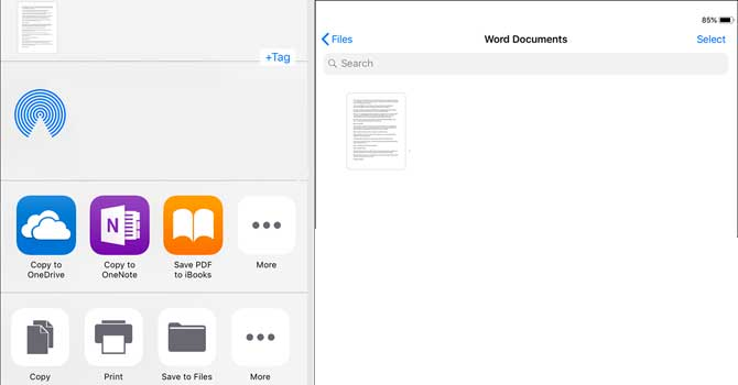 Come convertire docx in pdf su iphone senza app word